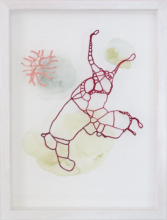 Hoppet, tråd, organzaväv och akvarell, 41x31 cm
